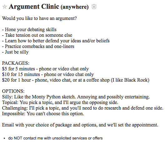 Argument Clinic craigslist ad